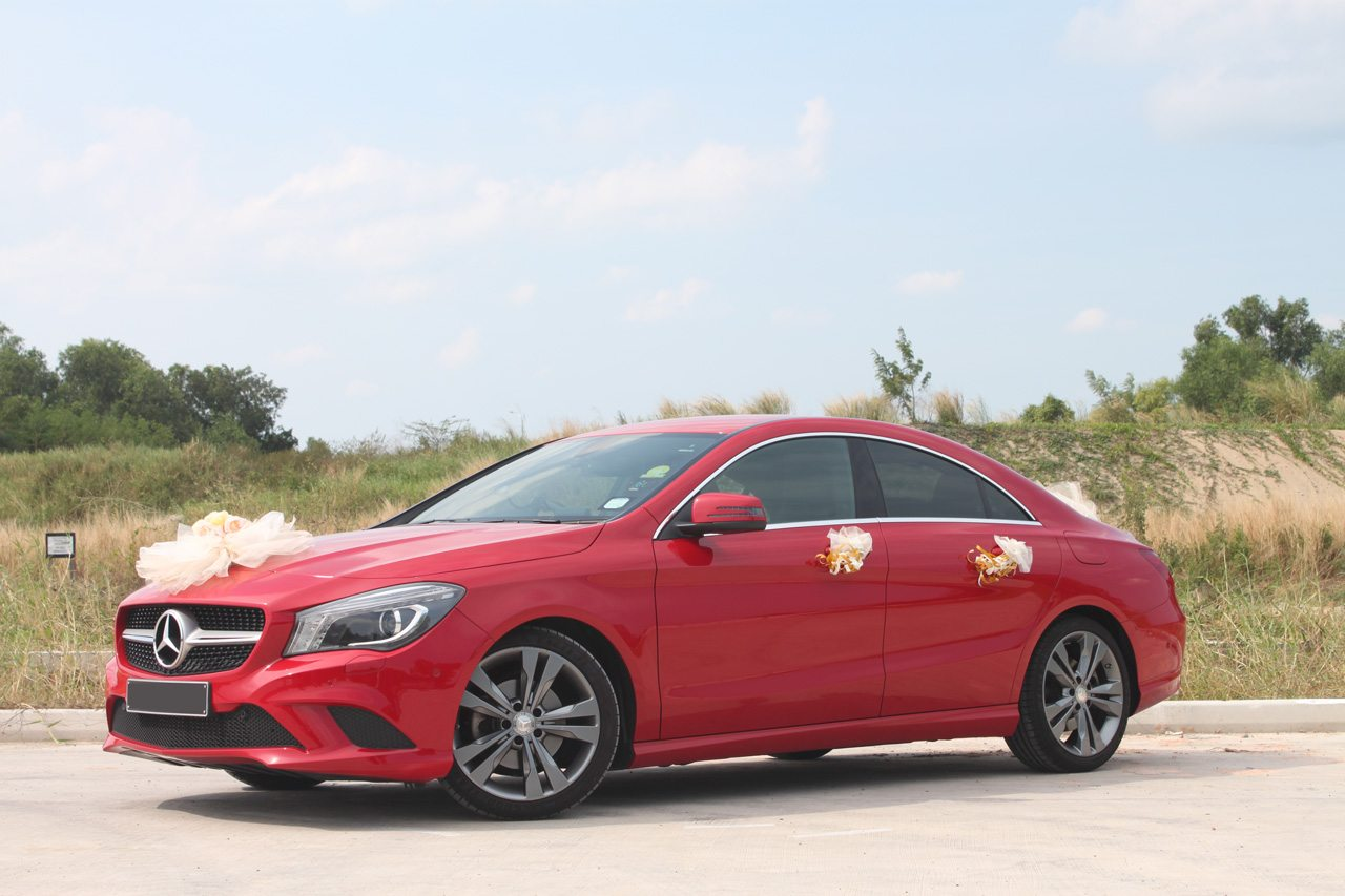 Red Mercedes CLA180 - Perfect Wedding Cars Singapore